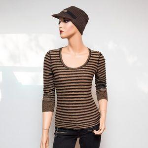Worth Tan & Black & Silver Shimmery Striped 3/4 Sl